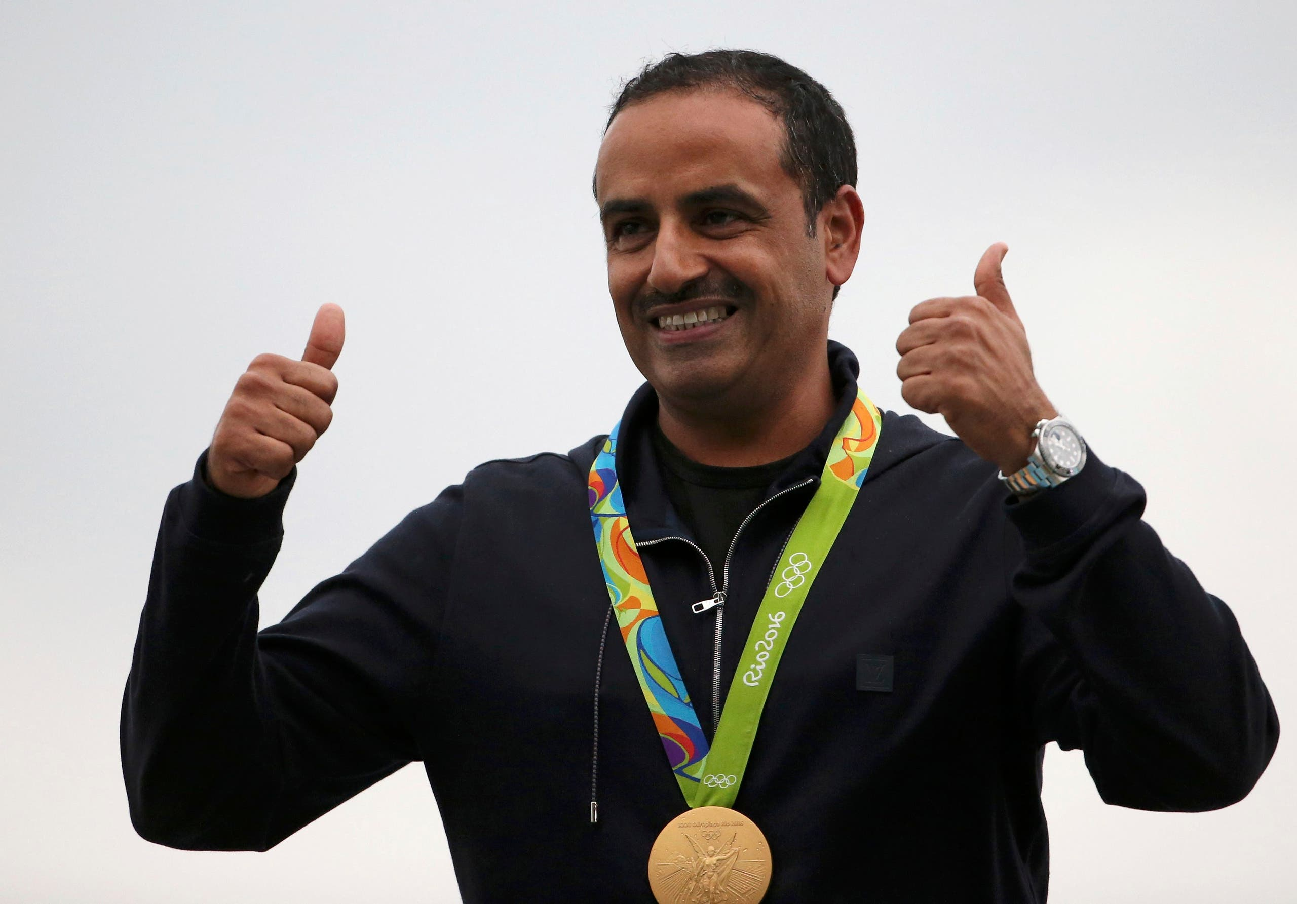 Fehaid Aldeehani (KUW) of Independent Olympic Athlete poses with his gold medal. REUTERS