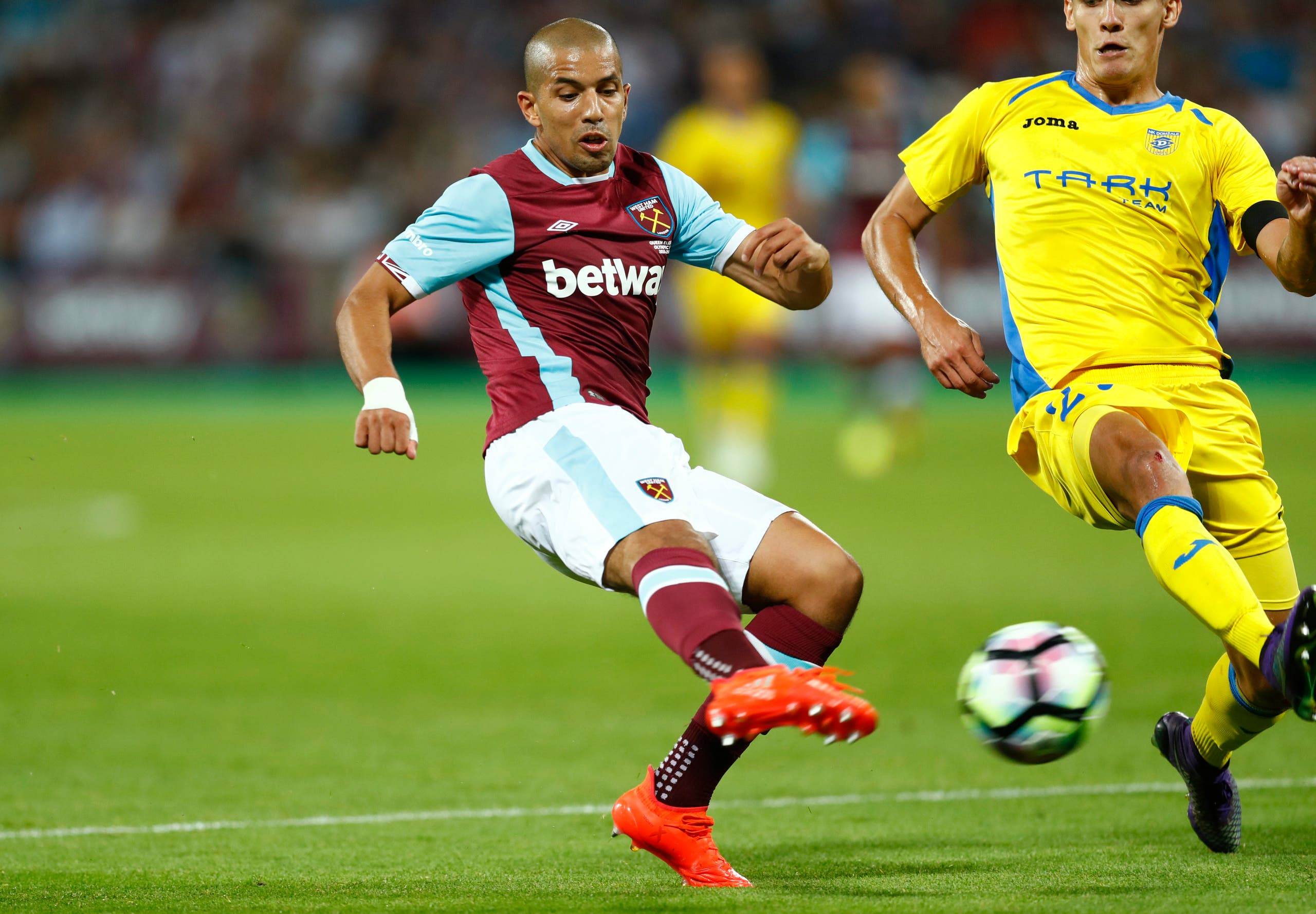 West Ham's Sofiane Feghouli scores their third goal reuters