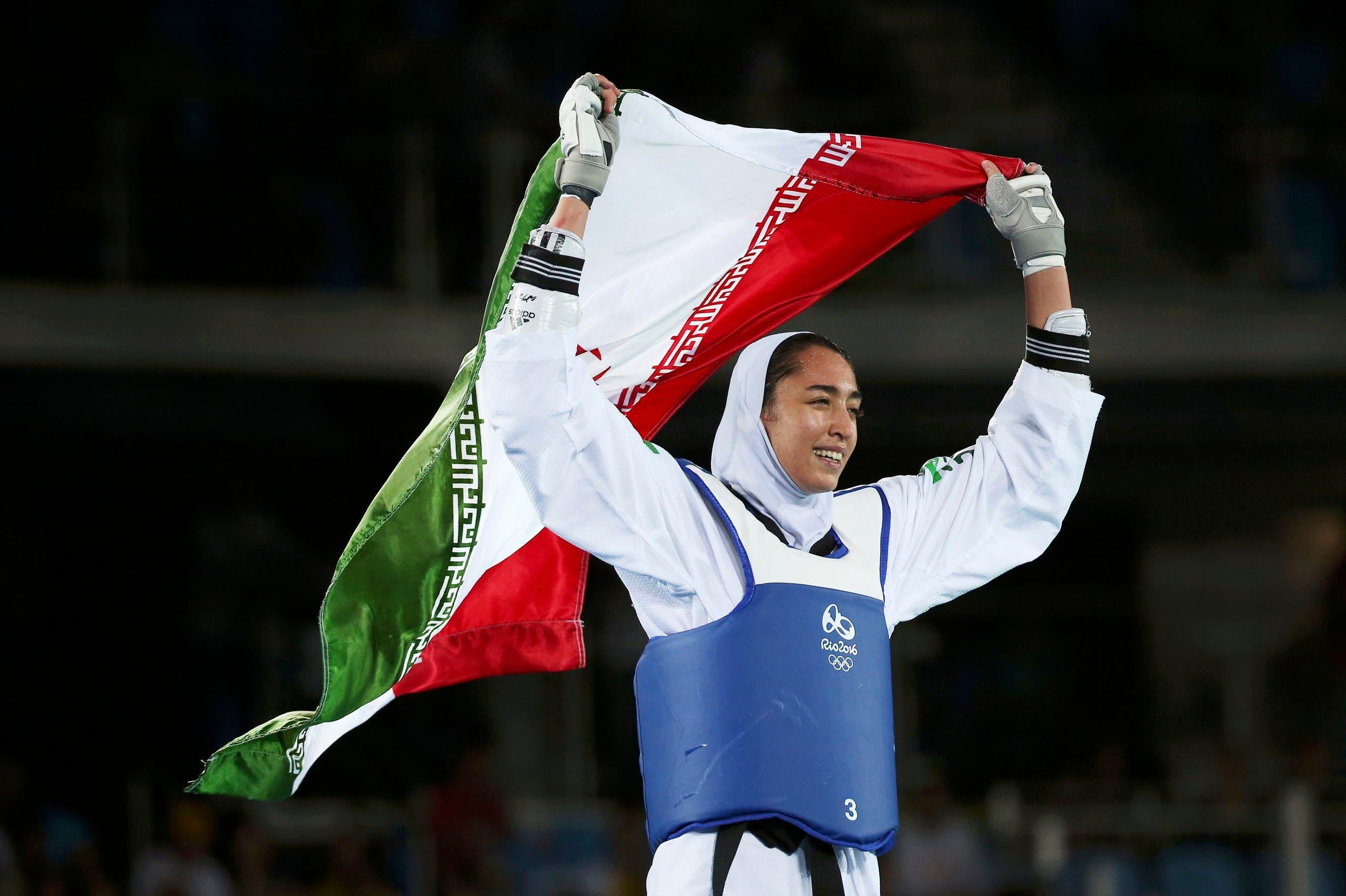 Kimia Alizadeh Zenoorin (IRI) of Iran celebrates. (Reuters)