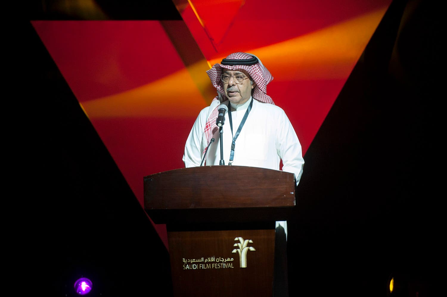 Director of the Saudi Arabian Society for Culture and Arts, Sultan Bin Abdulrahman al-Bazei speaks during the opening ceremony of the film festival on March 24, 2016 at the Saudi Cultural Center in Dammam. (AFP)
