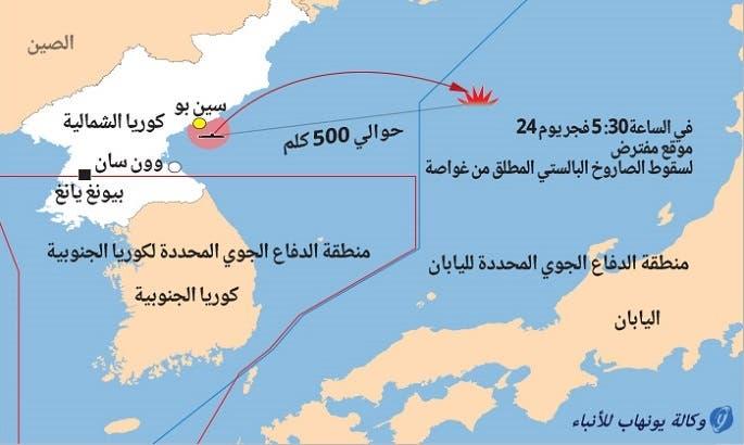 من مرفأ سين بو في وسط ك. الشمالية، خرج البالستي من البحر الشرقي وقطع 500 كلم نحو اليابان
