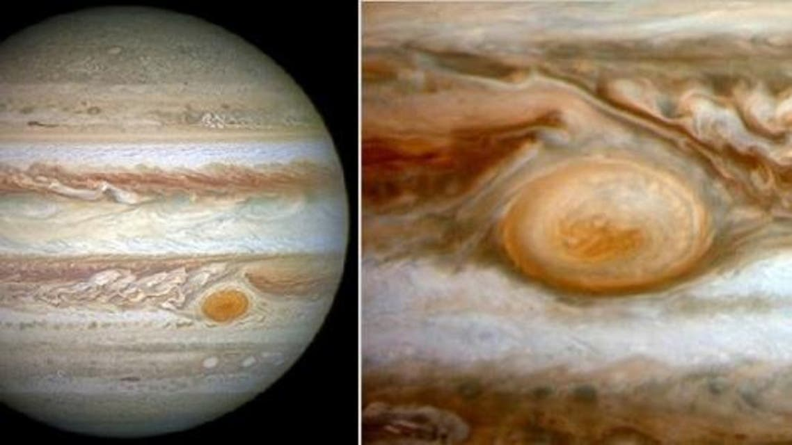 الاعصار في المشتري يظهر في معظم الصور التي تلتقطها التليسكوبات والمركبات