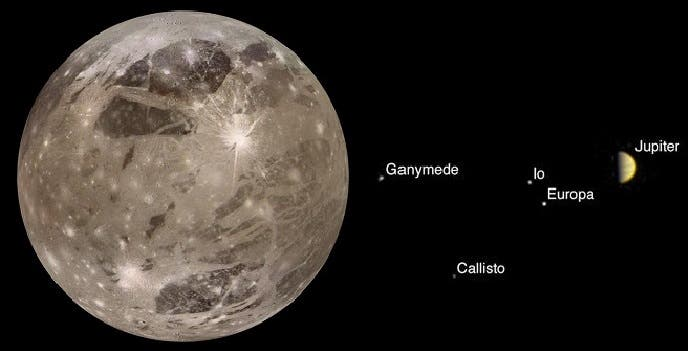 صورة التقطها جونو للمشتري وخمسة من أهم أقماره، وثانية لقمره غانيميد الأكبر حتى من كوكب عطارد