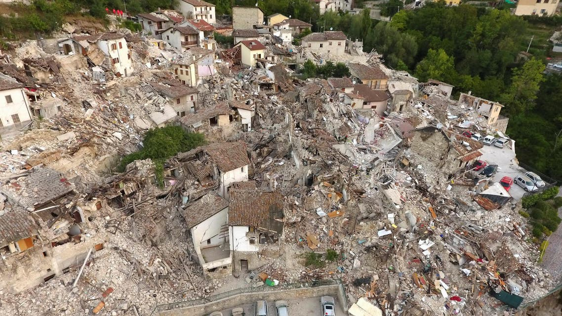 A drone photo shows the damages following an earthquake in Pescara del Tronto, central Italy, August 25, 2016. REUTERS