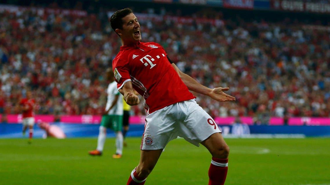 Bayern Munich's Robert Lewandowski celebrates after scoring the second goal against Werder Bremen REUTERS