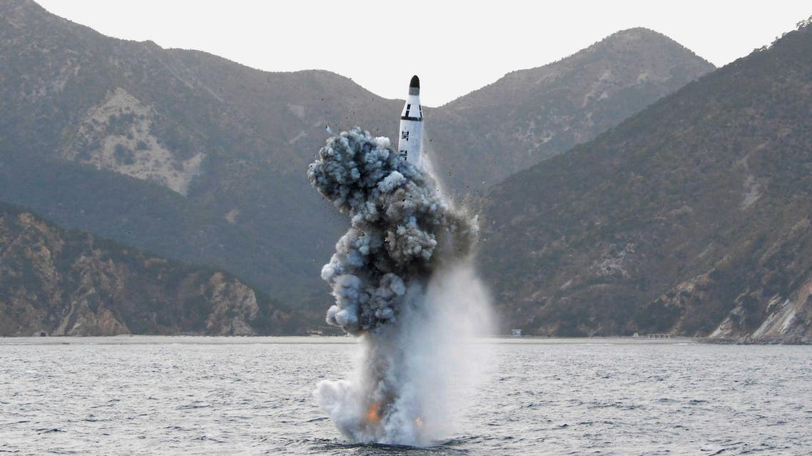 An underwater test-firing of a strategic submarine ballistic missile is seen in this undated photo released by North Korea's Korean Central News Agency (KCNA) in Pyongyang on April 24, 2016. (Reuters)