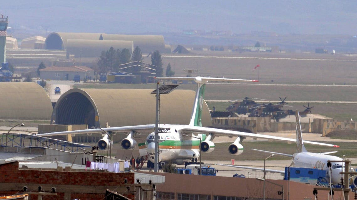 An Iranian airplane which was forced to land sits at the tarmac at Diyarbakir airport, southeastern Turkey, March 16, 2011. (Reuters)