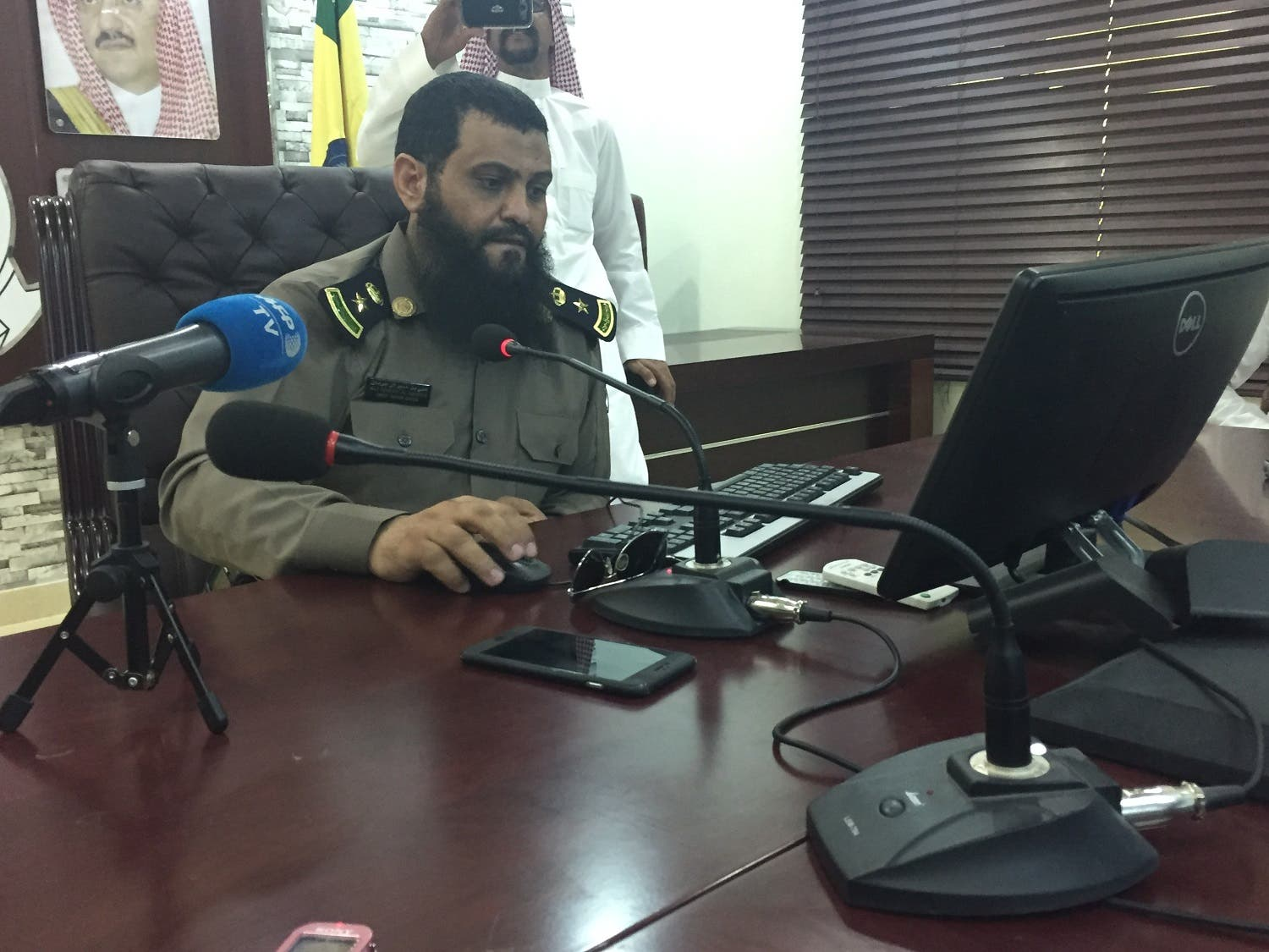 Najran's Civil Defense Spokesperson Ali Omeir al-Shahrani speaks to reporters. (Photo: Ismaeel Naar)