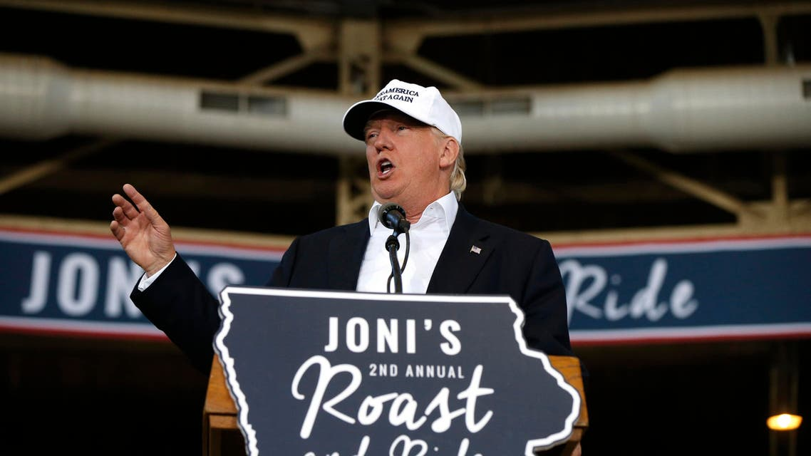 Republican presidential candidate Donald Trump speaks at Joni's Roast and Ride, a fundraiser for a PAC, at the Iowa State Fairgrounds, in Des Moines, Iowa, Saturday, Aug. 27, 2016. (AP)