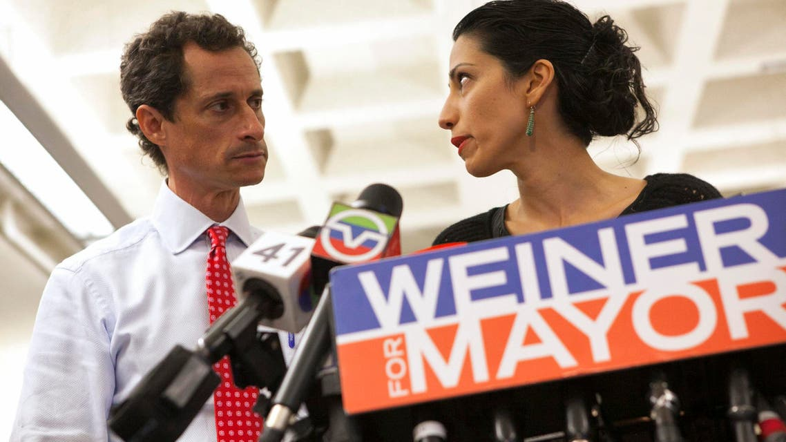 File photo of Anthony Weiner and his wife Huma Abedin at a news conference in New York during his mayoral campaign, July 23, 2013. (Reuters)