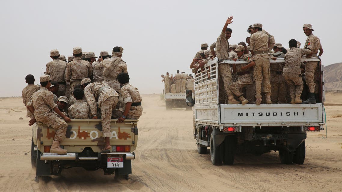 Yemeni army soldiers ride on trucks as they escort Yemen's Vice President Ali Muhssien al-Ahmar (not pictured) at a military barracks in the country's central province of Marib August 15, 2016. REUTERS