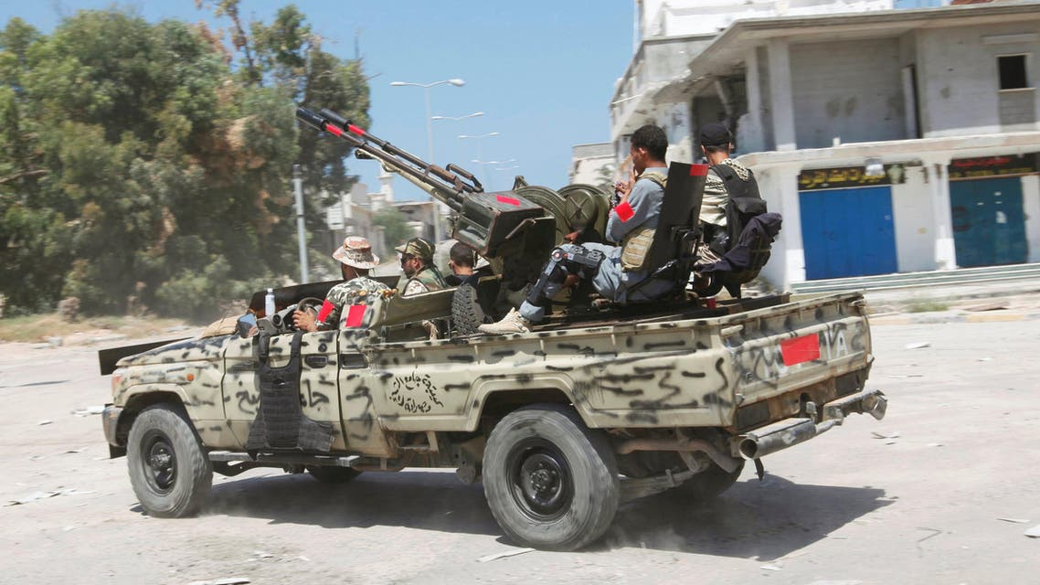 Libyan forces ride a military vehicle as they prepare for next advance against Islamic State holdouts in Sirte, Libya August 29, 2016. (Reuters)