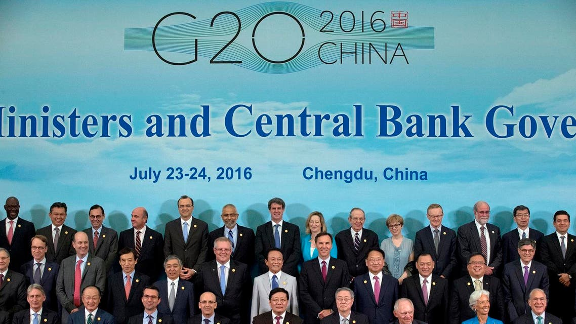 G20 Finance Ministers and Central Bank Governors pose for a group photo in Chengdu in Southwestern China's Sichuan province. (AP)