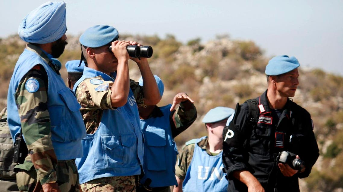 UN peacekeepers serving with the United Nations Interim Force in Lebanon (UNIFIL) inspect areas that were targeted by shelling by the Israeli Army in the Shebaa area, southern Lebanon. (File photo: Reuters)
