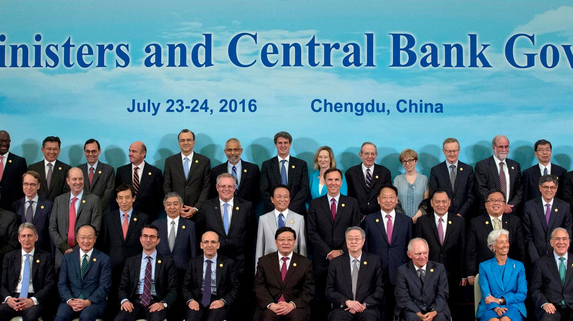 G20 Finance Ministers and Central Bank Governors pose for a group photo in Chengdu in Southwestern China's Sichuan province, Sunday, July 24, 2016. (AP)