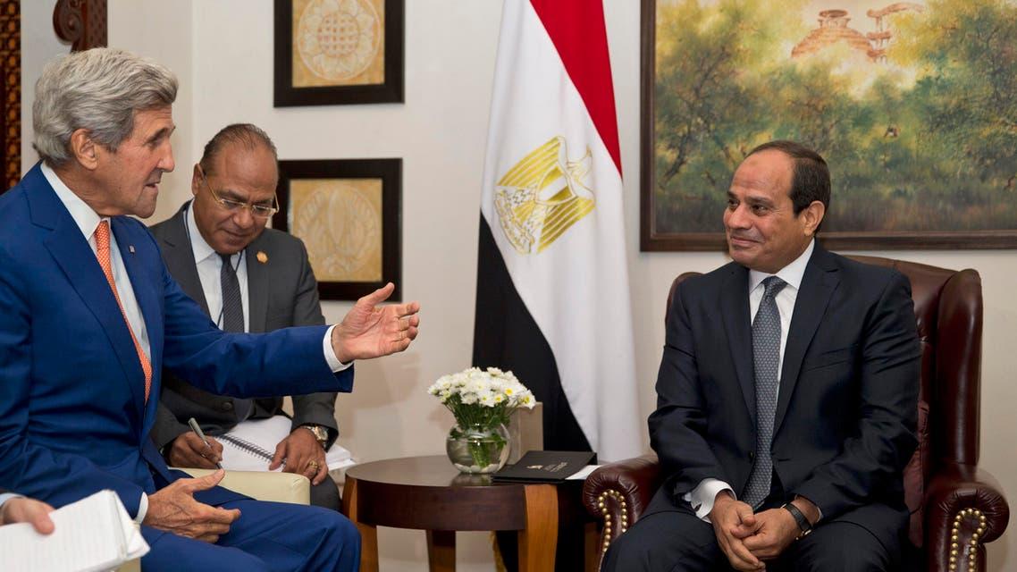 U.S. Secretary of State John Kerry, second left, meets Egyptian President Abdel Fattah El-Sisi, right, in New Delhi, India, Thursday, Sept. 1, 2016. (AP Photo/Saurabh Das, Pool)