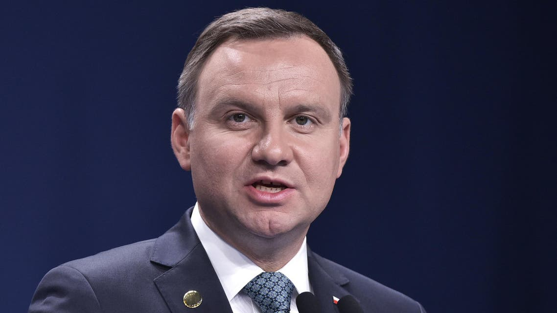 Poland's President Andrzej Duda speaks during commemorations marking the 70th anniversary of a massacre of Jews in Kielce, Poland, Monday, July 4, 2016. Duda has strongly condemned all forms of racism, xenophobia and anti-Semitism, saying there is no room in today's free Poland for those forms of prejudice.(AP Photo/Czarek Sokolowski)