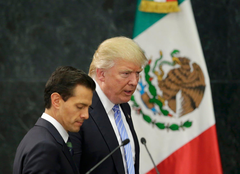 لقاء سابق جمع الرئيس ترمب (أثناء حملته الانتخابية) بنظيره المكسيكي