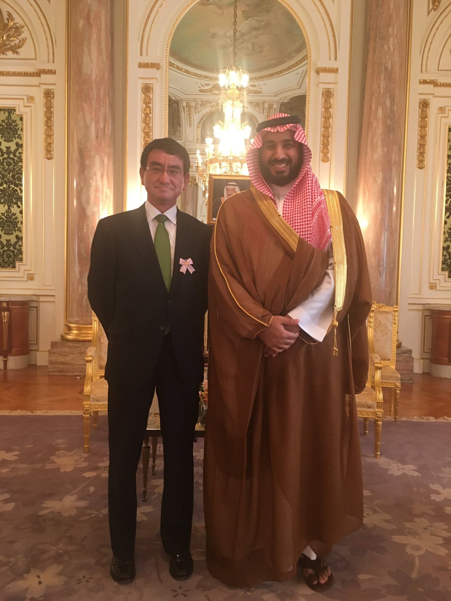 A picture posted on Twitter by Taro Kono of his audience with HRH Prince Mohammad bin Salman post this interview (Twitter)