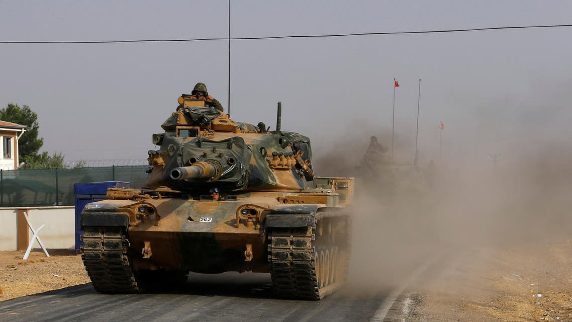 Turkish army tanks drive towards to the border in Karkamis on the Turkish-Syrian border in the southeastern Gaziantep province, Turkey, August 25, 2016. REUTERS