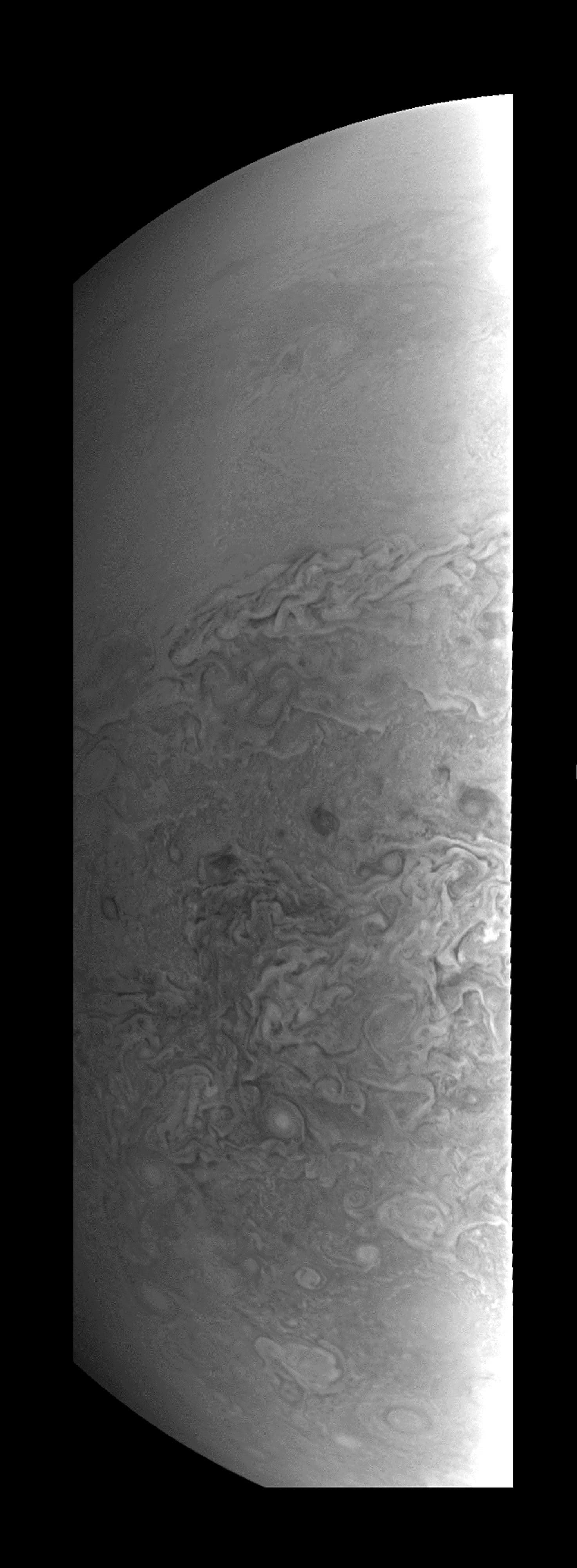 This image obtained from NASA provides a close-up view of Jupiter's southern hemisphere, as seen by NASA's Juno spacecraft on August 27, 2016. The JunoCam instrument captured this image with its red spectral filter when the spacecraft was about 23,600 miles (38,000 kilometers) above the cloud tops.  HO / NASA / AFP