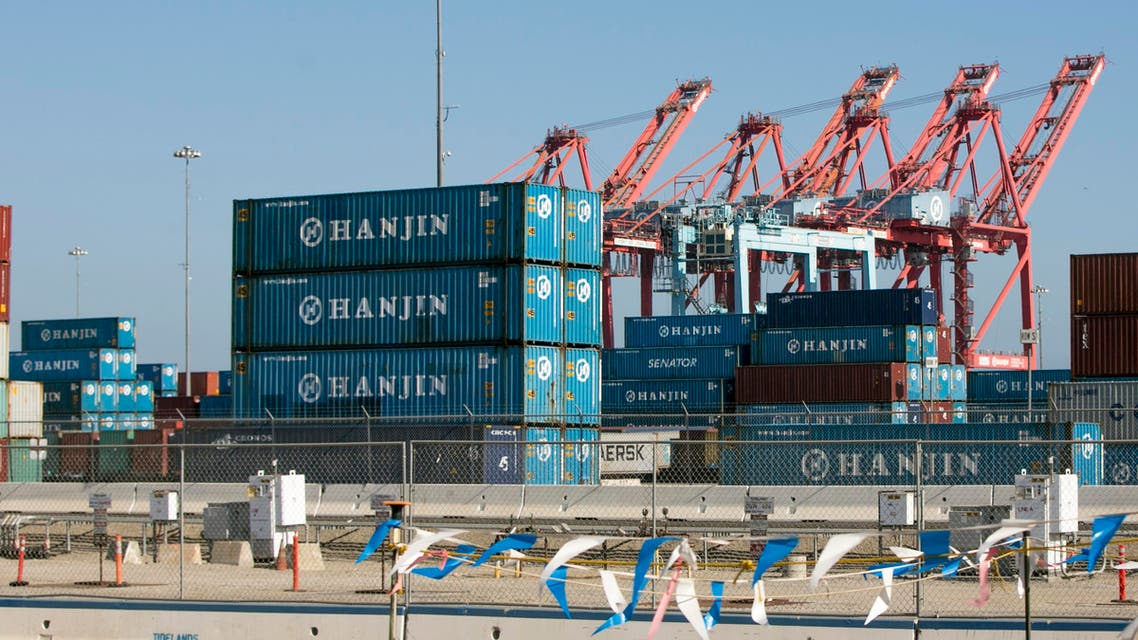 South Korea's Hanjin Shipping Co. containers are seen in the Port of Long Beach, California, on Thursday, Sep 1, 2016. Hanjin, the world's seventh-largest container shipper, filed for bankruptcy protection on Wednesday and stopped accepting new cargo. (AP)