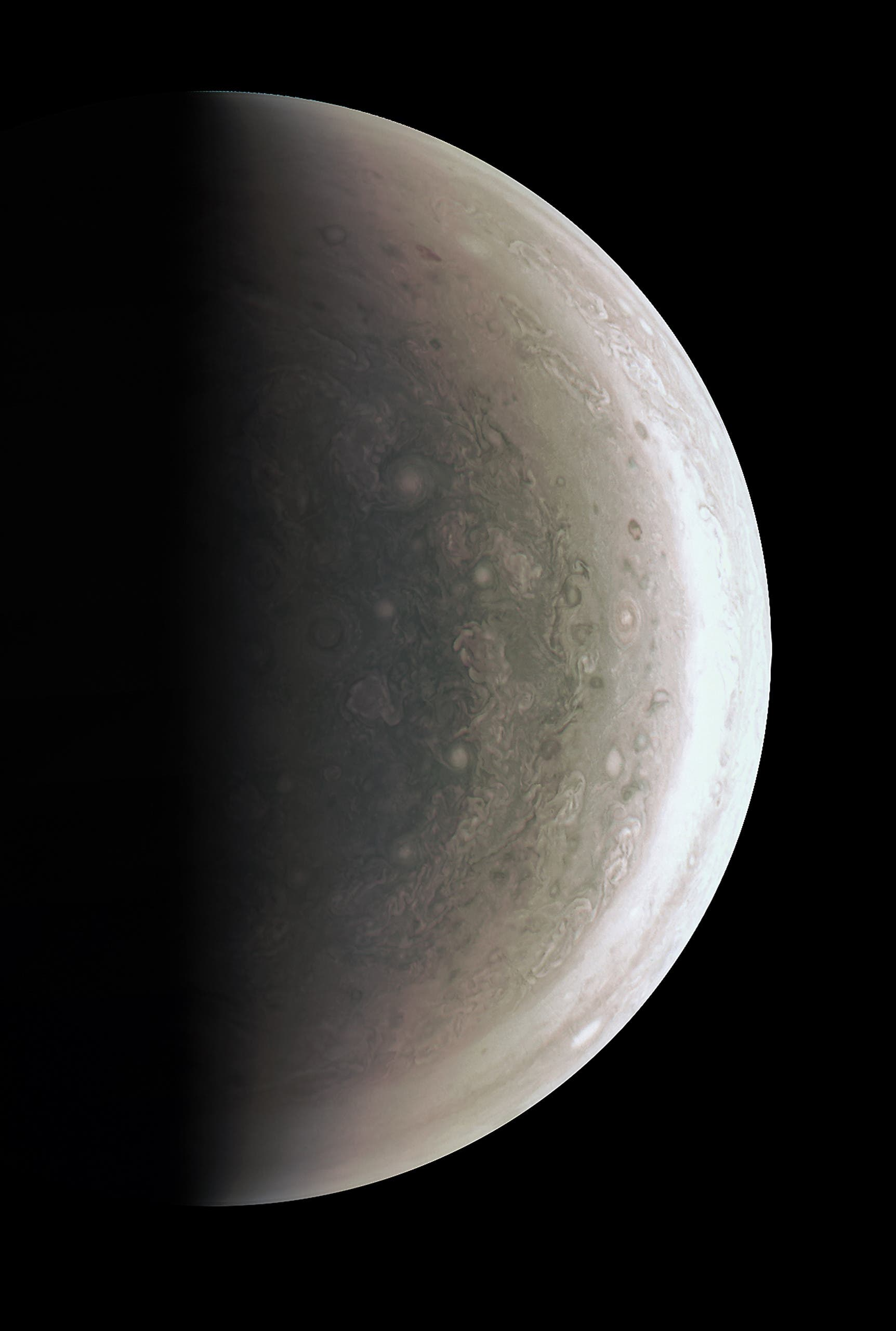 In this image obtained from NASA, Juno was about 48,000 miles (78,000 kilometers) above Jupiter's polar cloud tops when it captured this view, showing storms and weather unlike anywhere else in the solar system. The JunoCam instrument took the images to create this color view on August 27, when the spacecraft was about 48,000 miles (78,000 kilometers) above the polar cloud tops.  HO / NASA / AFP