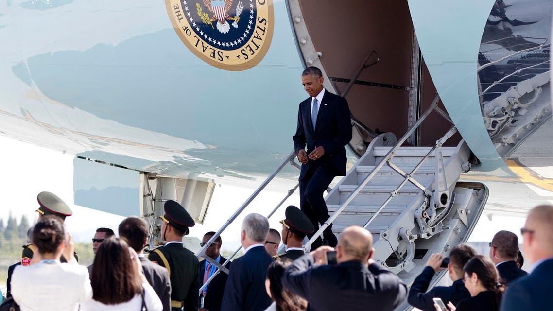 US  President Barack Obama arrives on Air Force One at Hangzhou Xiaoshan International Airport in Hangzhou in eastern China's Zhejiang province, Saturday, Sept. 3, 2016. (AP)