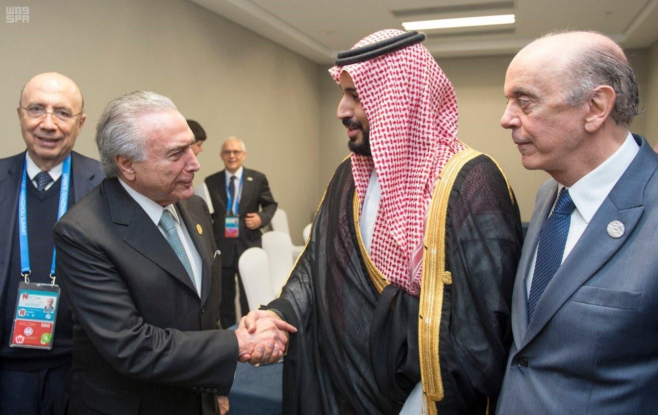 الأمير محمد بن سلمان يلتقي ميشيل تامر رئيس البرازيل