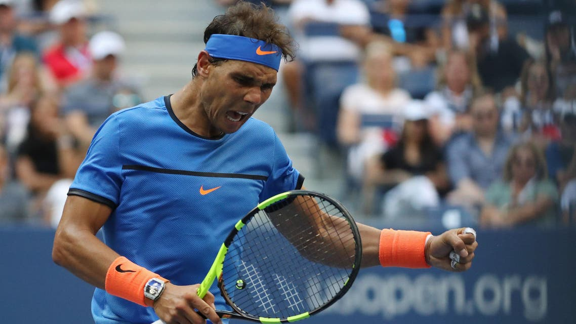 Rafael Nadal of Spain gestures after winning a point against Lucas Pouille of France (not pictured) on day seven of the 2016 U.S. Open tennis tournament at USTA Billie Jean King National Tennis Center. Mandatory Credit: Geoff Burke-USA TODAY Sports