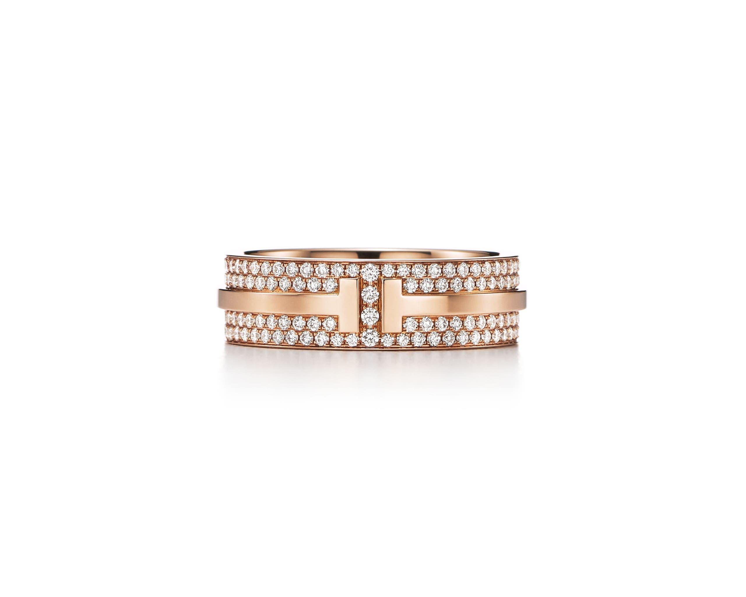 خاتم تيفاني تي المصنوع من الذهب الوردي والمرصع بالكامل بالماس