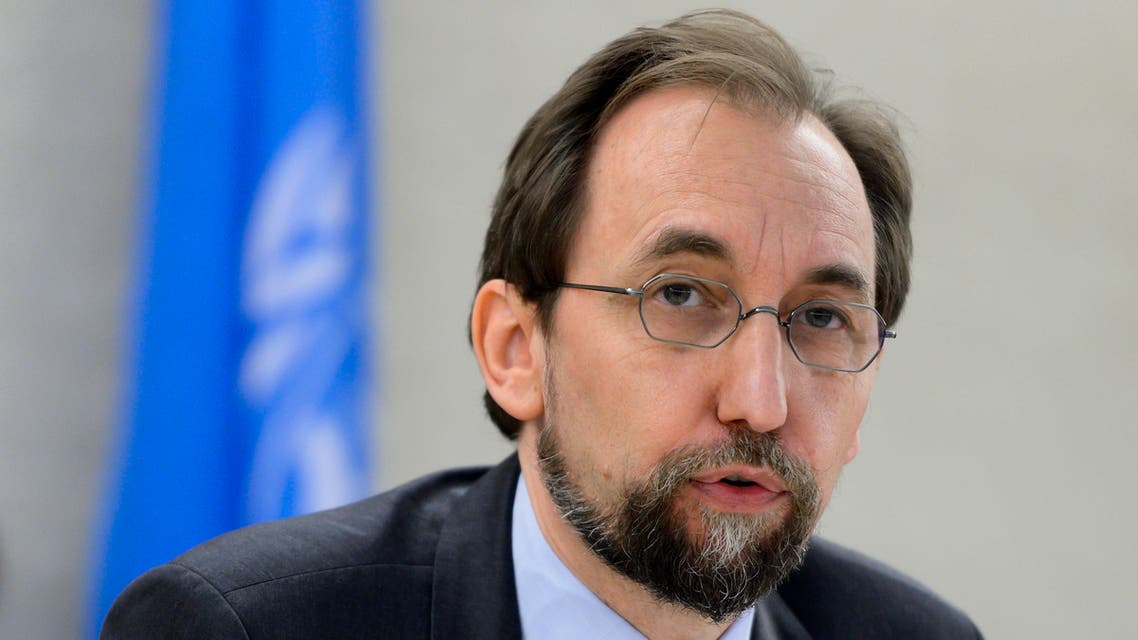 """United Nations High Commissioner for Human Rights Zeid Ra'ad Al Hussein delivers a speech at the opening of a new Council's session on June 13, 2016 in Geneva. Registration centers for migrants arriving on the Greek islands from the Turkish coast are essentially """"large areas of forced confinement"""", on Monday denounced the UN High Commissioner for Human Rights Zeid Ra'ad Al Hussein. AFP"""