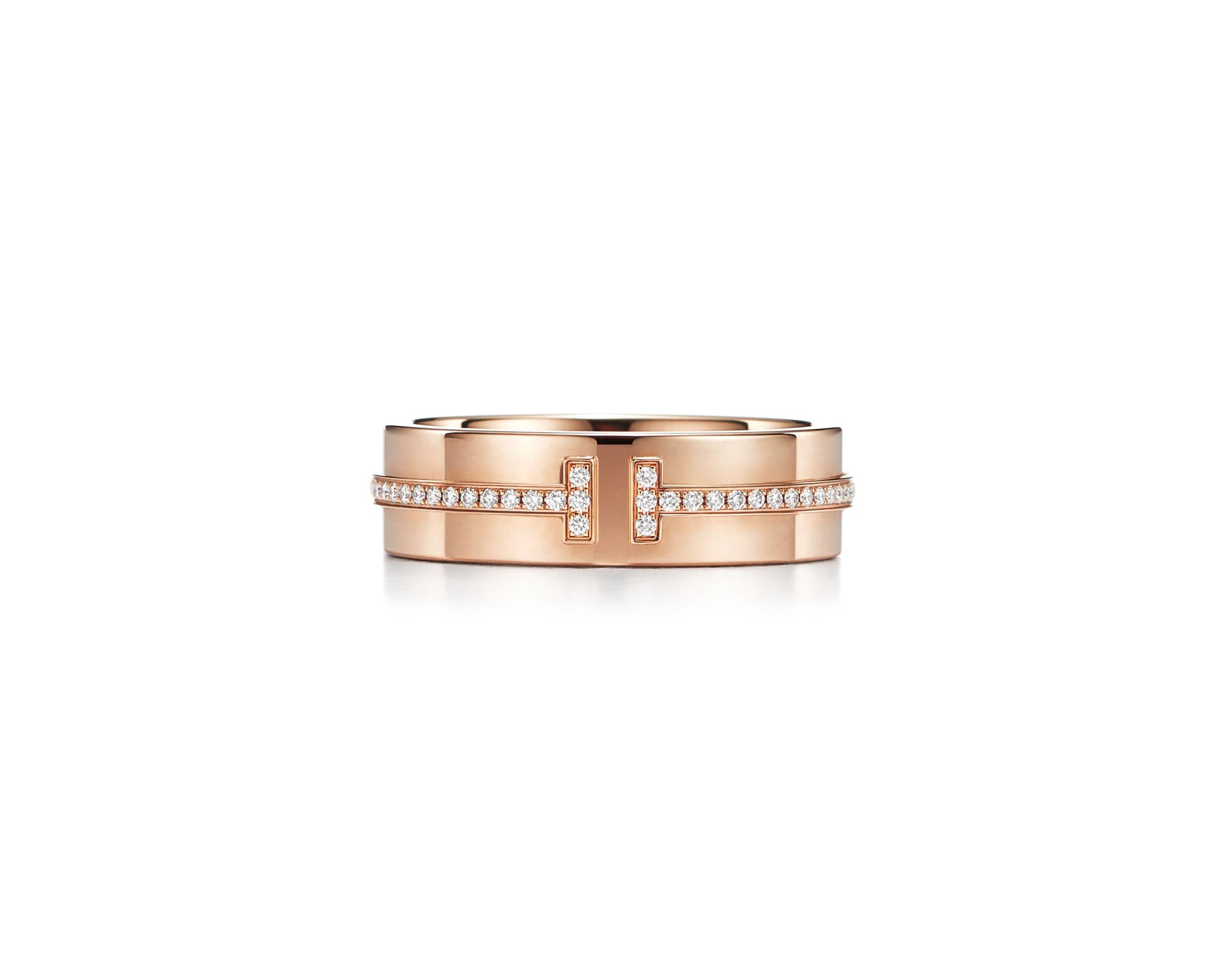 خاتم تيفاني تي من الذهب الوردي المرصع بصف من الماس