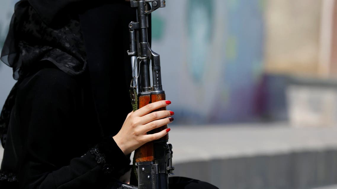 Women in military parade support Houthi movement