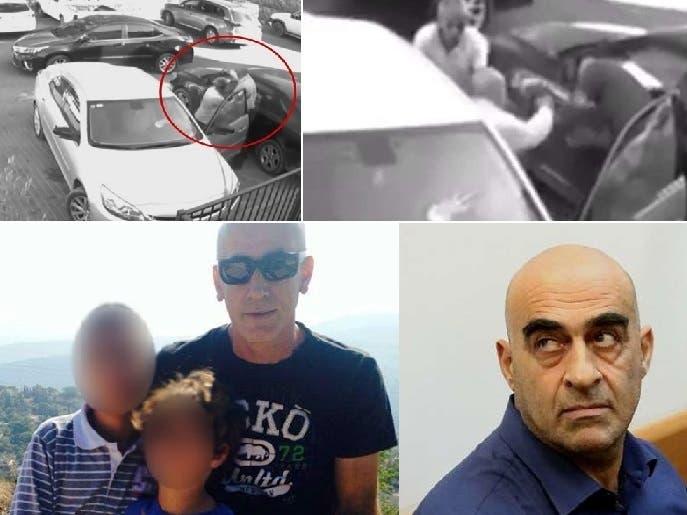 الجريمة بصورتين، وفي الأسفل من اليمين، رئيس البلدية سلمان عامر، ثم ضحيته المقاول منير نبواني