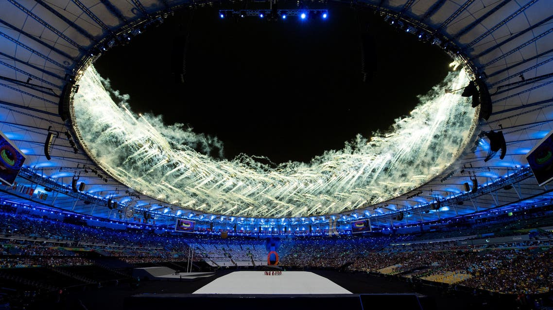Fireworks light up the roof of the Maracana Stadium during the opening ceremony of the Rio 2016 Paralympic Games in Rio de Janeiro, Brazil, Wednesday, Sept. 7, 2016. (Photo Bob Martin/ OIS/IOC via AP)