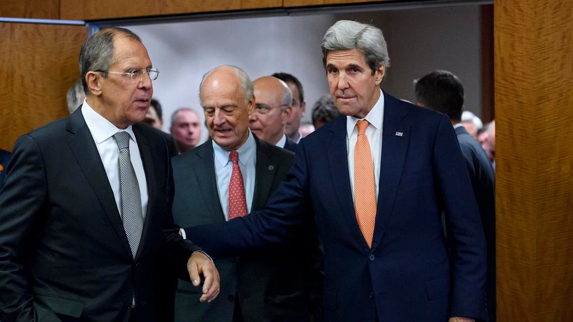 (L - R) Russian Foreign Minister Sergei Lavrov, United Nations Special Envoy for Syria Staffan de Mistura and US Secretary of State John Kerry enters the press conference room after meetings to discuss the Syrian crisis went late into the evening on September 9, 2016, in Geneva. The United State and Russia on Friday agreed a plan to impose a ceasefire in the Syrian civil war and lay the foundation of a peace process, US Secretary of State John Kerry said.  FABRICE COFFRINI / AFP