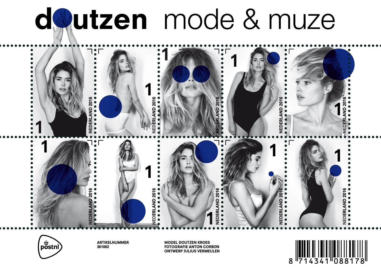 A postal stamp created by Dutch photographer Anton Corbijn, featuring model Doutzen Kroes. (Photo: AFP /POSTNL/ ANTON CORBIJN)