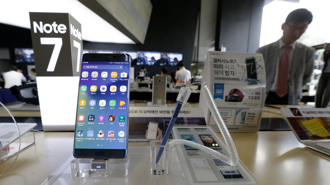 In this Sept. 8, 2016 photo, a Samsung Electronics' Galaxy Note 7 smartphone is displayed at the headquarters of South Korean mobile carrier KT in Seoul, South Korea. (AP)