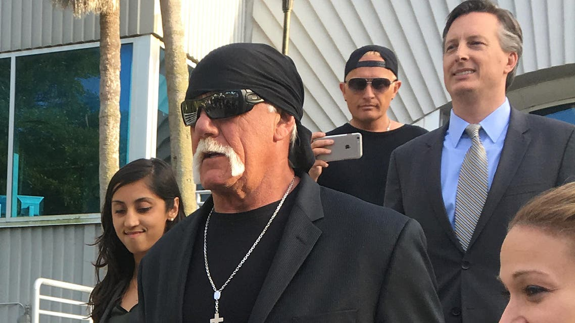 Hulk Hogan, whose given name is Terry Bollea, leaves he court house after a jury returned its decision Monday, March 21, 2016, in St. Petersburg, Fla. A jury has hit Gawker Media with $15 million in punitive damages and its owner with $10 million, adding to the $115 million it awarded last week for publishing a sex video of Hogan. (AP)