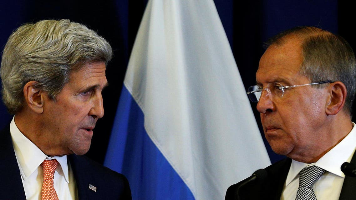 U.S. Secretary of State John Kerry and Russian Foreign Minister Sergei Lavrov look toward one another during a press conference following their meeting in Geneva, Switzerland where they discussed the crisis in Syria September 9, 2016.REUTERS