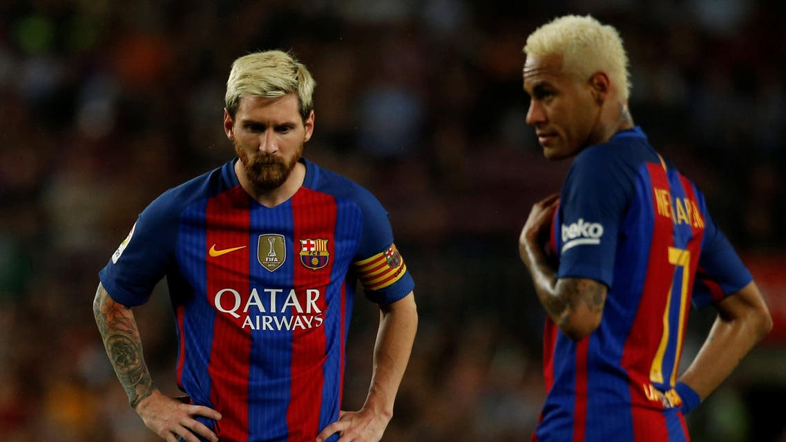 Barcelona's Lionel Messi and Neymar during the match. REUTERS