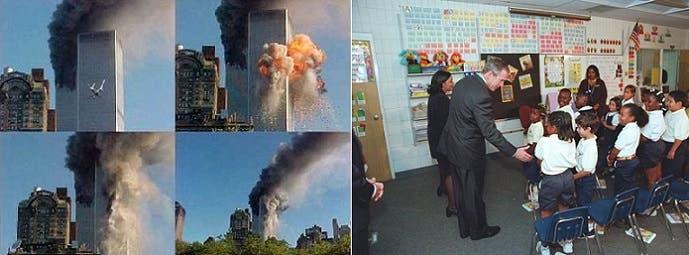 بوش يودع التلاميذ الذين تخطوا سن المراهقة الآن، والمبنى في الثانية يتعرض للهجمتين
