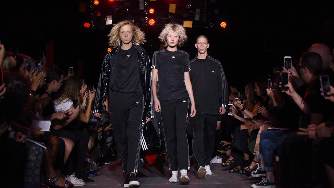 """The """"Adidas Originals by Alexander Wang"""" collection is modeled during Fashion Week in New York, Saturday, Sept. 10, 2016. (AP"""