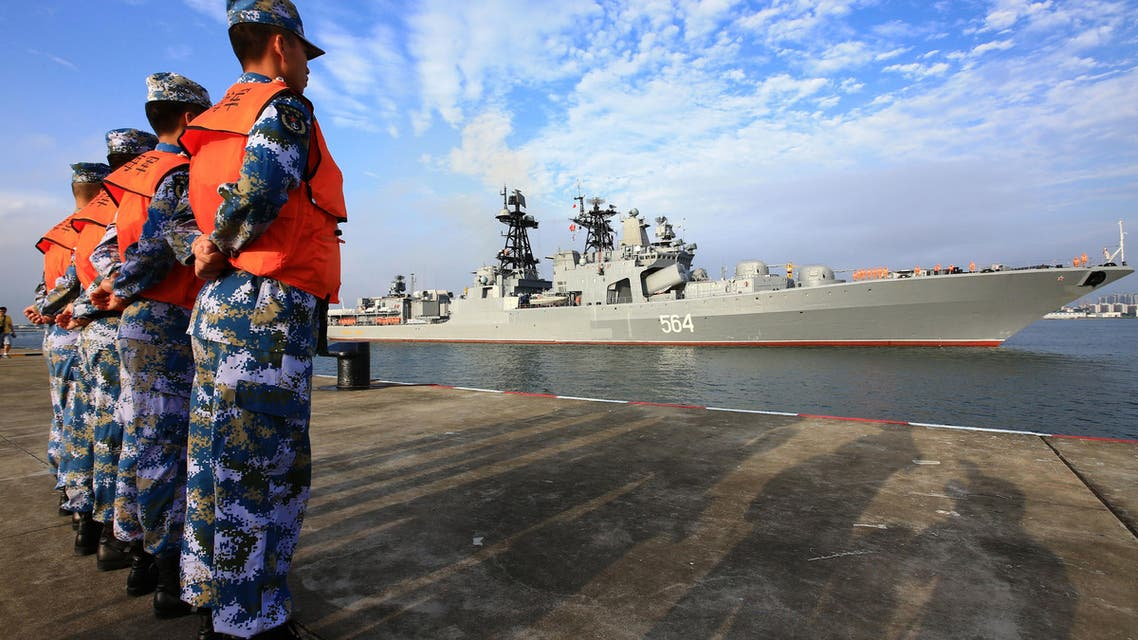 In this photo released by China's Xinhua News Agency, a Russian naval ship arrives in port in Zhanjiang in southern China's Guangdong Province, Monday, Sept. 12, 2016.(AP)