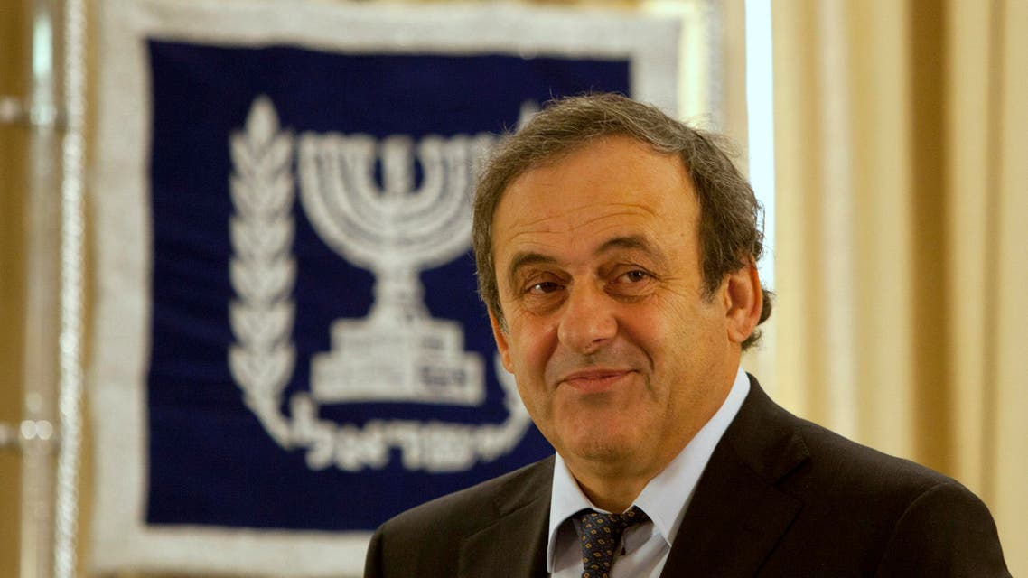 UEFA President Michel Platini stands prior to his meeting with Israel's President Shimon Peres, not seen, at the President's residence in Jerusalem. (File Photo: AP)