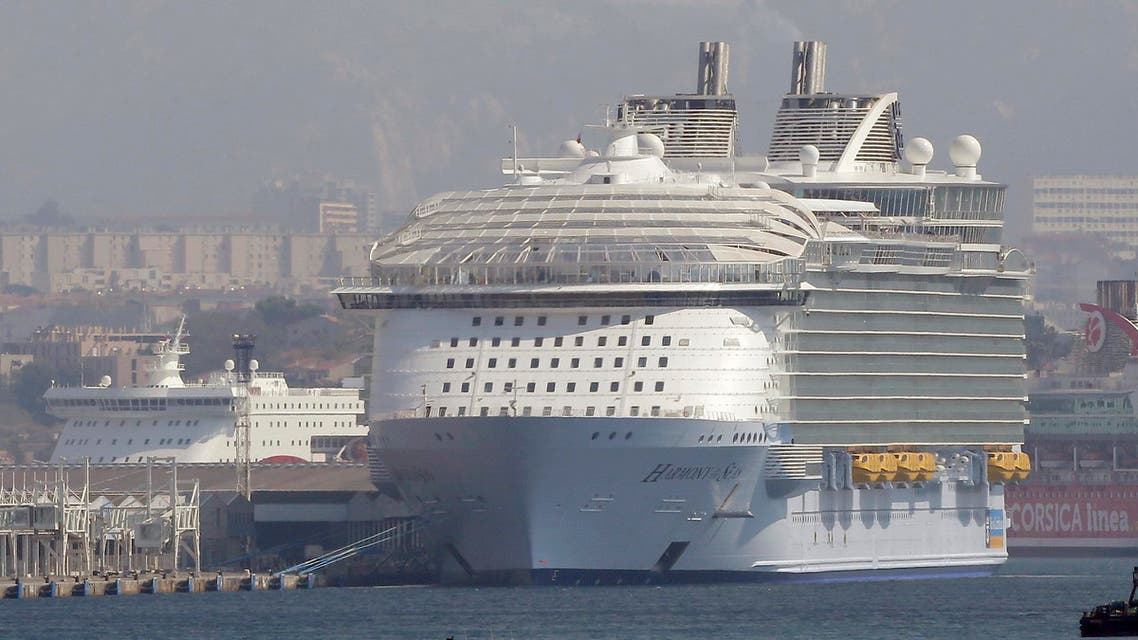 The Harmony of the Seas is docked in Marseille harbor, southern France, Tuesday, Sept. 13, 2016. AP