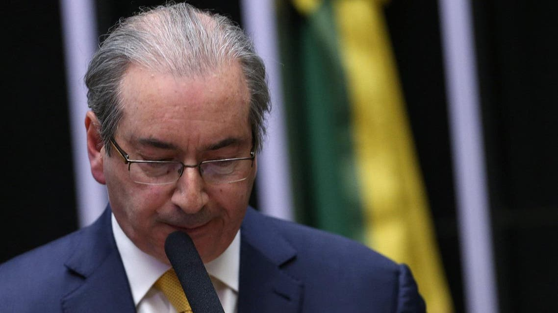 Former speaker of Brazil's Lower House of Congress, Eduardo Cunha speaks in a session of the House as they debate his impeachment, in Brasilia, Brazil. (Reuters)