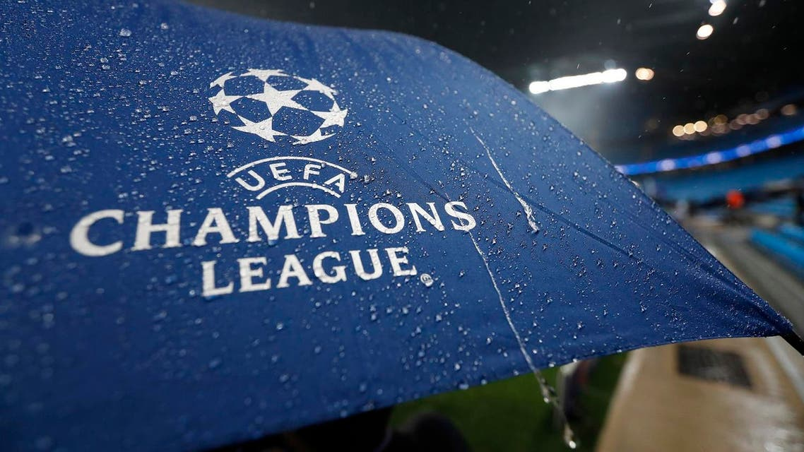 Football Soccer Britain - Manchester City v Borussia Monchengladbach - UEFA Champions League Group Stage - Group C - Etihad Stadium, Manchester, England - 13/9/16 General view of an umbrella during a storm before the game Action Images via Reuters / Carl Recine