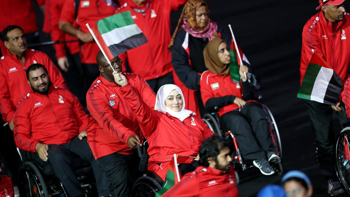 . Athletes from United Arab Emirates take part in the opening ceremony. REUTERS